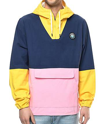 Quiet Life Solar Yellow, Navy & Pink Cotton Jacket