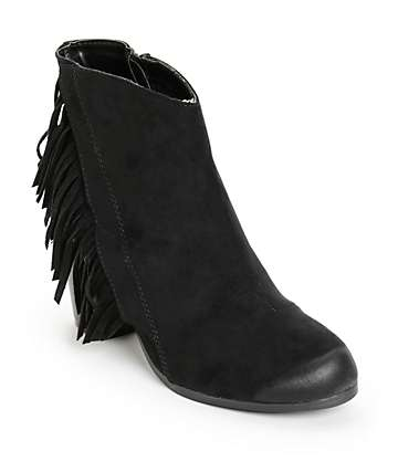 Qupid Fringe Black Boots