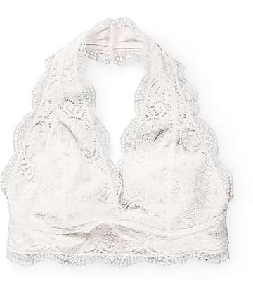 R.N.B. Ivory Lace Halter Bralette