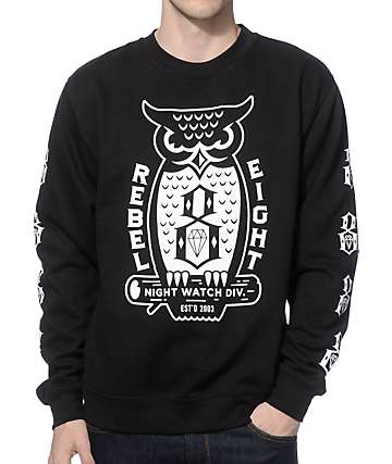 REBEL 8 Night Watch Crew Neck Sweatshirt