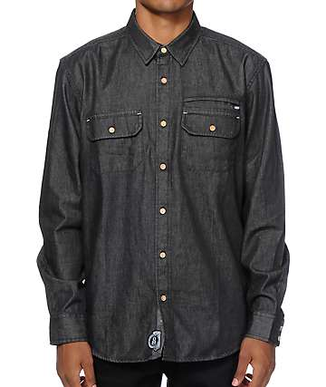 REBEL8 Black Denim Button Up Shirt