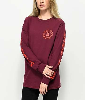 REBEL8 Blotch camiseta de manga larga en color borgoño