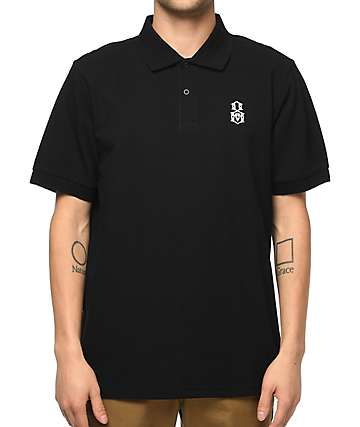 REBEL8 Bovver Embroidered Black Polo Shirt