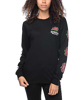 REBEL8 Centifolia Black Long Sleeve T-Shirt