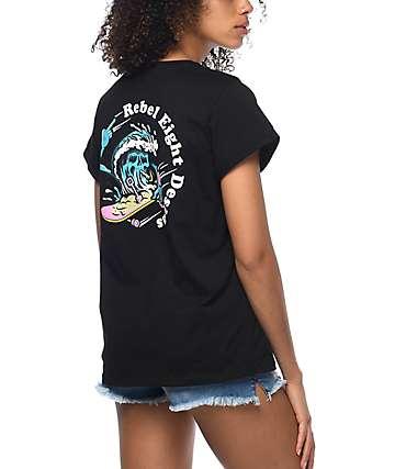 REBEL8 Designs Rolled Sleeve Black T-Shirt