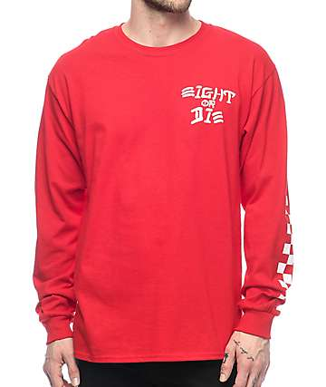 REBEL8 Eight Or Die Long Sleeve Red T-Shirt