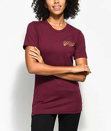 REBEL8 Floret Burgundy T-Shirt
