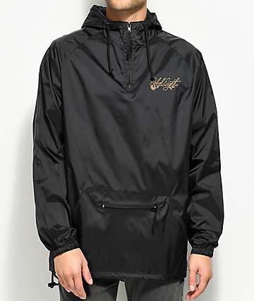 REBEL8 Floret Embroidered Black Anorak Jacket