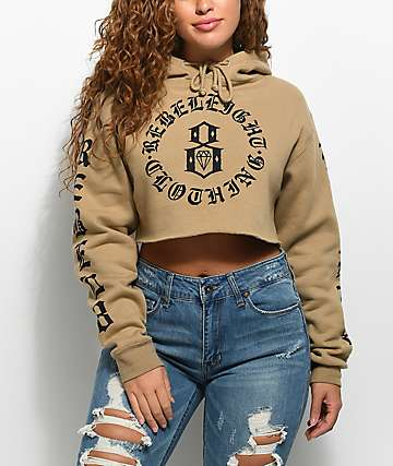 REBEL8 Immortals Brown Crop Hoodie