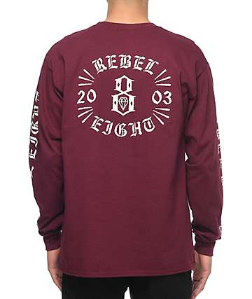 REBEL8 Indestructible Burgundy Long Sleeve T-Shirt