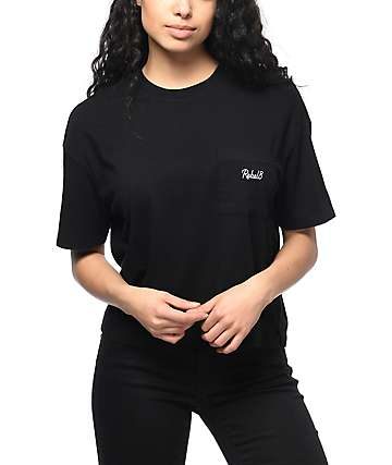 REBEL8 Lakeview Black Cropped Pocket T-Shirt