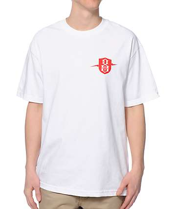 REBEL8 Lightninig Badge White T-Shirt