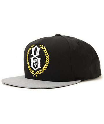 REBEL8 Logo Crest Black Snapback Hat