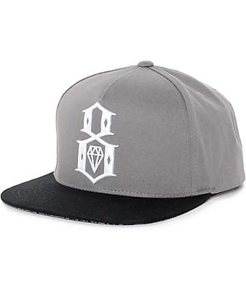 REBEL8 Logo Handstyle Grey & Black Snapback Hat