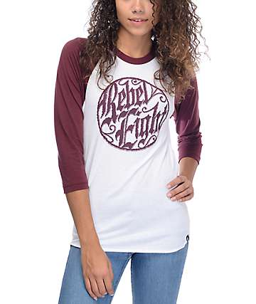 REBEL8 Ornate Badge White & Burgundy Baseball T-Shirt