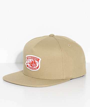 REBEL8 Premium Blend Khaki Snapback Hat