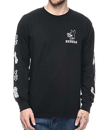 REBEL8 Proper Fucked Long Sleeve Black T-Shirt