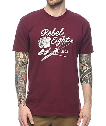 REBEL8 Roses & Daggers Burgundy T-Shirt