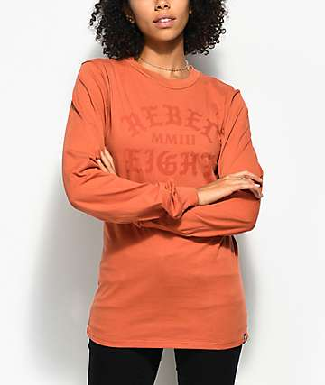 REBEL8 Scriptum Burnt Orange Long Sleeve T-Shirt