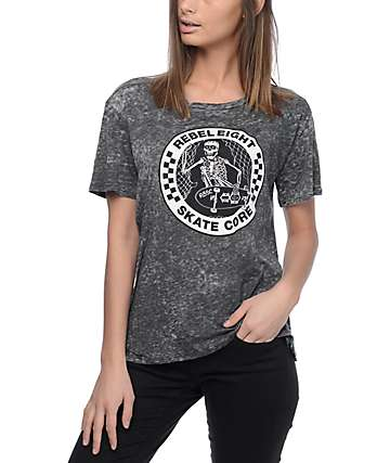 REBEL8 Skate Core Burnout Grey T-Shirt