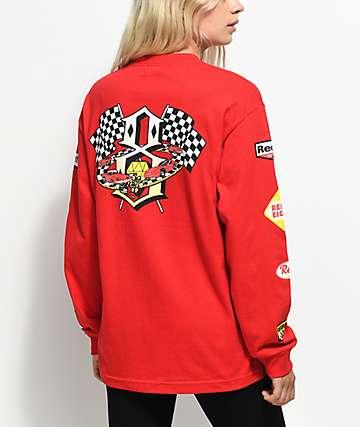 REBEL8 Speedway camiseta roja de manga larga