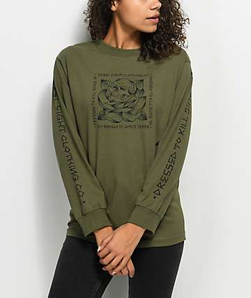 REBEL8 Stigma Military Green Long Sleeve T-Shirt