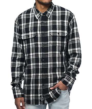 REBEL8 WWD Black Flannel Shirt