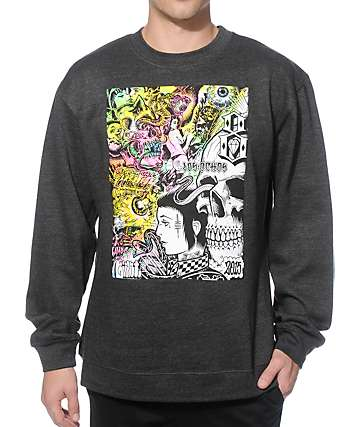 REBEL8 x Mishka Gates Of Hell Charcoal Crew Neck Sweatshirt