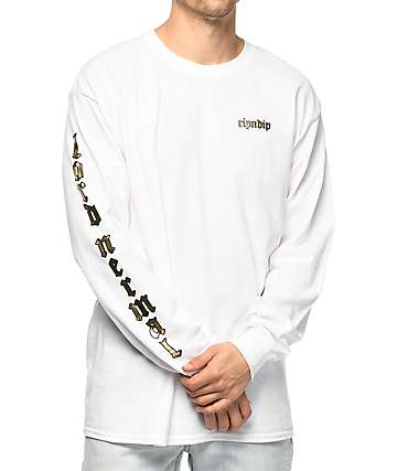 RIPNDIP All Hail Lord Nermal White Long Sleeve T-Shirt