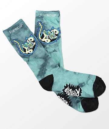 RIPNDIP Falling Electrocuted Tie Dye Crew Socks