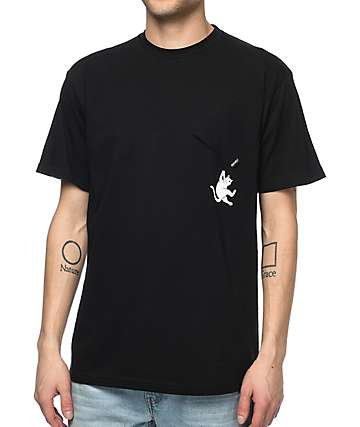 RIPNDIP Hang In There Nermal Black Pocket T-Shirt
