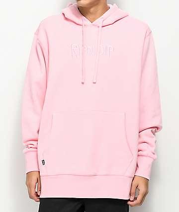 RIPNDIP Logo Embroidered Pink Hoodie