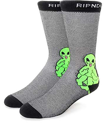 RIPNDIP Lord Alien Pin Black Crew Socks