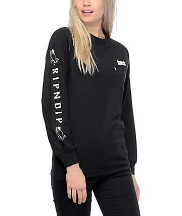 RIPNDIP Lord Nermal Black Long Sleeve T-Shirt
