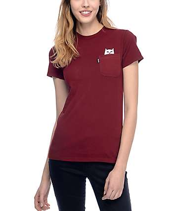 RIPNDIP Lord Nermal Burgundy Pocket T-Shirt