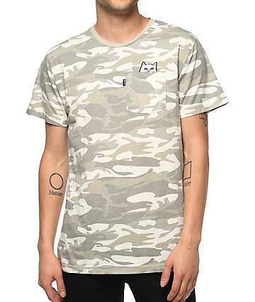 RIPNDIP Lord Nermal White & Grey Camo Pocket T-Shirt