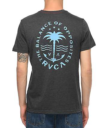 RVCA Anchor Palm Black & Blue T-Shirt