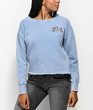 RVCA Block Ace Blue Crew Neck Sweatshirt