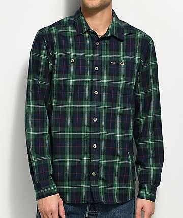 RVCA Bone Green & Navy Flannel Shirt
