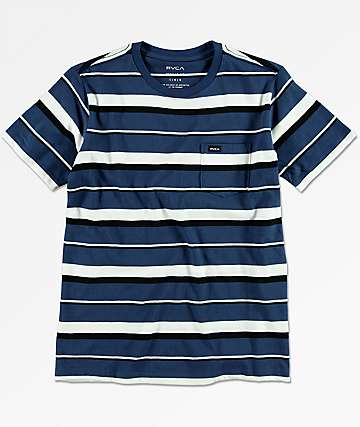 RVCA Boys Danron Blue Pocket T-Shirt