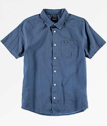 RVCA Boys No Name Cobalt Blue Short Sleeve Button Up Shirt