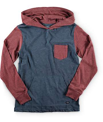 RVCA Boys Set Up Long Sleeve Hooded Pocket Shirt