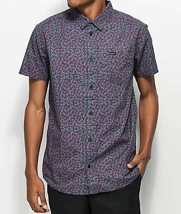 RVCA Brong Navy Floral Woven Short Sleeve Shirt
