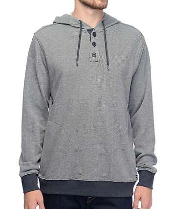 RVCA Capo sudadera henley asargada con capucha en gris