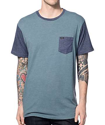 RVCA Change Up Light Blue & Dark Blue Pocket T-Shirt