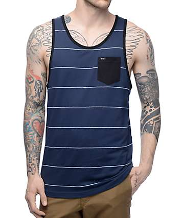 RVCA Change Up Navy & White Stripe Tank Top