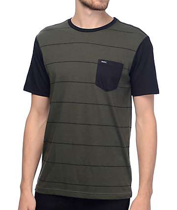 RVCA Change Up Olive & Black Stripe T-Shirt