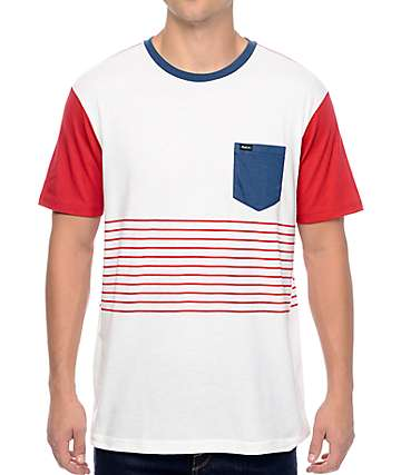 RVCA Change Up White, Red, & Navy Stripe T-Shirt