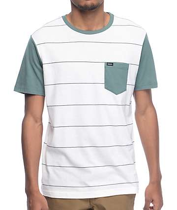 RVCA Change Up White & Green Stripe T-Shirt