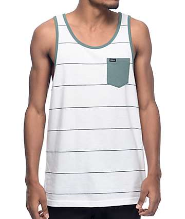 RVCA Change Up White & Green Stripe Tank Top